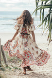 Floral Print Short Sleeve Boho Long Dresses