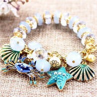 Blue Crab and Shell Bracelet
