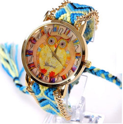 Rainbow Psychedelic Lace Chain Braid Vintage Owl Watch