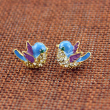 Beautiful Blue Bird Semi-Precious Stone Earrings