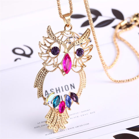 Vintage Fashion Colorful Crystal Owl Necklaces