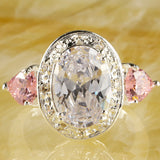 Dazzling White Sapphire Pink Topaz CZ Silver Ring