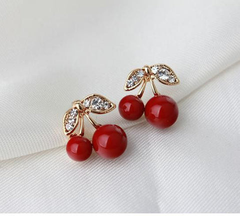 Lovely Cute Red Cherry Rhinestone Leaf Bead Earrings (Free+Shipping)