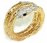 Vintage Retro Punk Rhinestone Curved Stretch Snake Cuff Bangle