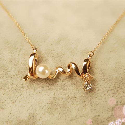 LOVE Letters Simulated Pearls Crystal Pendant Minimalist Necklace