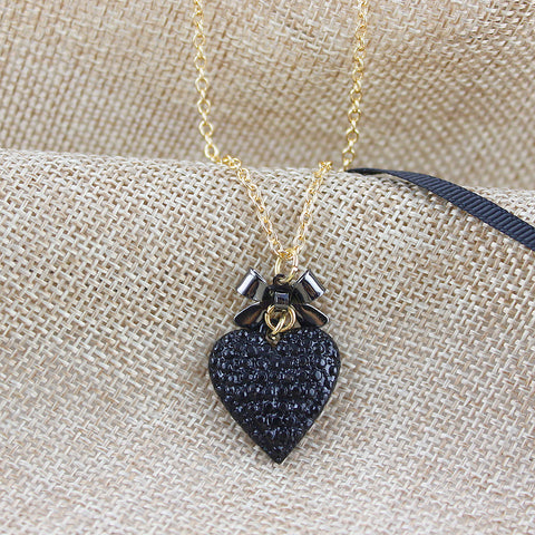Black Hearts Double Layer Long Necklace (Free+Shipping)
