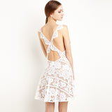 Sleeveless Crochet Cut Out Lemon Lace Sexy Backless Women Mini Dress