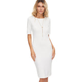 Casual Bodycon White Short Sleeve Knee Length Back Slit Pencil Dress