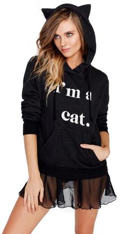Preppy Kitty Ribbed Pullover Sweatshirt