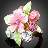 Austrian Crystal 18K Gold Plated AAA Zircon Pink Flower