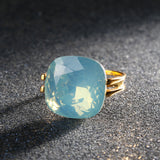 Fashion Square Blue Opal Stone Gold Plated CZ Diamond Ring
