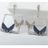 Luxury Micro Paved Blue Yellow CZ Crystal Double Butterfly Drop Earrings
