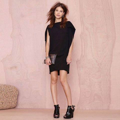 Solid Black Ruffle Pleated Streetwear Casual Mini Dress