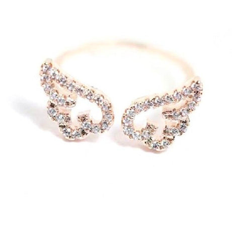 Adjustable Angel Wings Micro Pave Zircon Gold-Color Rings