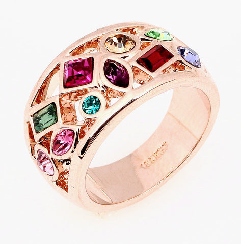Luxury Rose Gold Plated Cocktail Austrian Crystal Ring