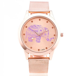 Mesh Stainless Steel Women Watch Rose Gold Elephant Wristwatch