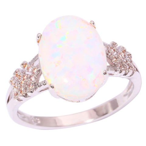 White Fire Opal CZ Silver Plated Wedding Ring