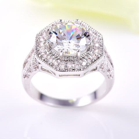 White Stone Retro Love Crystal Silver Engagement Rings