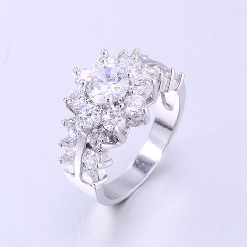 Clear White Flower Wedding Ring
