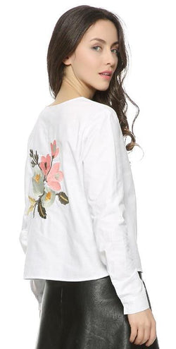 Sweet Floral Embroidery Back Blouse