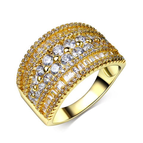 Ladies Gold and Rhodium Plated with White CZ Party Ring