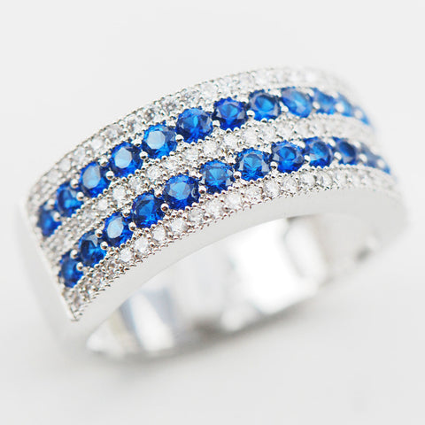 White Blue Simulated Sapphire Topaz Silver Plated Ring