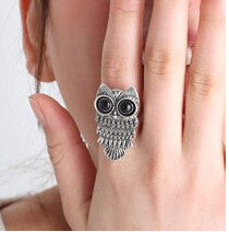 Antique Silver And Bronze Plated Lovely Big Eyes Owl Rings