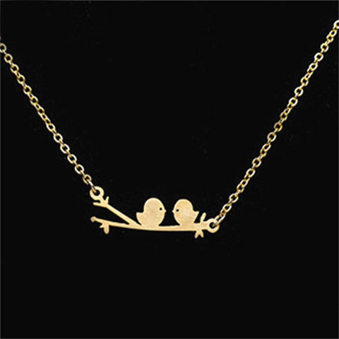 Stainless Steel Gold Silver Birds Necklace
