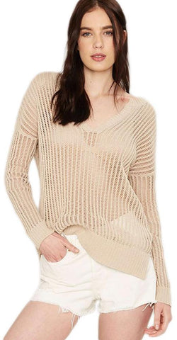 Solid Beige Long Sleeves Knitted Casual V-Neck Shirt