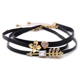 3 Pcs/Set Flower Crystal Heart Arrow Unique Imitation Leather Choker