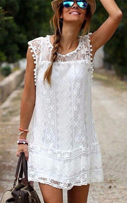 Sleeveless Sexy Solid Black or White Lace Boho Mini Dress