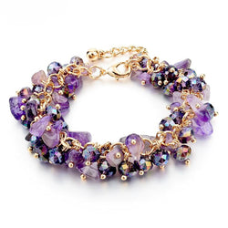 Amethyst Crystal Gold Plated Charm Bracelets