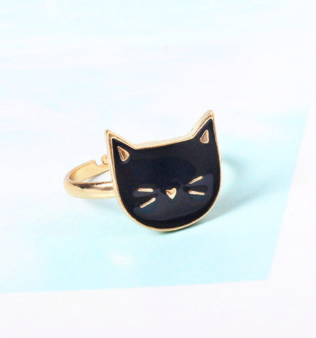 Adjustable Cute Cocktail Cat Black or White Rings
