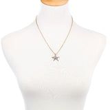 Crystal Simulated Pearl Starfish Pendant Necklace (Free+Shipping)