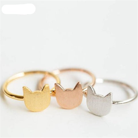 Delicate Cat Charm Ring