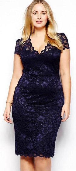 Lace V Neck Cocktail Plus Size Mini Dress