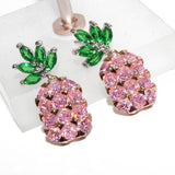 Pink or Yellow Pineapple Crystal Silver Earrings
