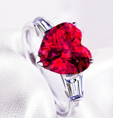 Red Heart CZ Silver Color Rings