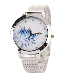Stainless Steel Blue Flower Watch