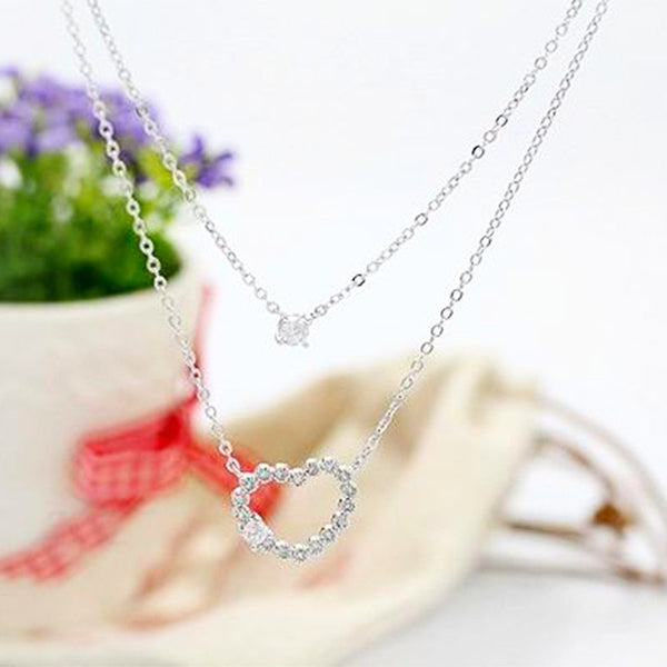 Austrian Crystal Silver Heart Necklace