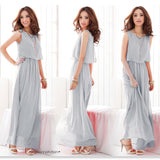 Chiffon Sleeveless Boho Maxi Dress