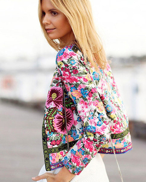 High Waist Floral Flower Print Embroidered Short Jacket