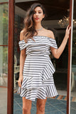 Sexy Ruffle Stripe or Plaid Off Shoulder Mini Dress