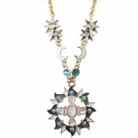 Luxury Crystal Gem Opal Sun Gold Color Moon Necklace