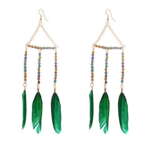 Boho Beads & Feather Earrings