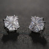 Big Square Crystal Zircon Gold-Color Earrings