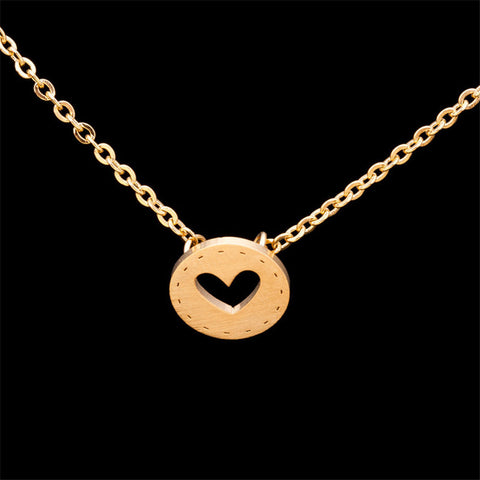 Gold Color Stainless Steel Heart Button Pendant Necklaces