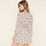 Boho Flower Print White Chiffon Mini Dress