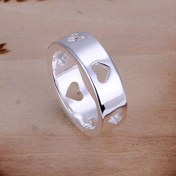 925 Silver Plated Hollow Multi Hearts Ring