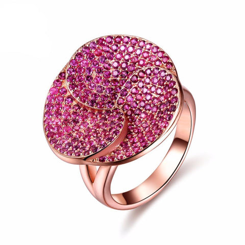 Luxury Rose Gold Color Flower Party Ring
